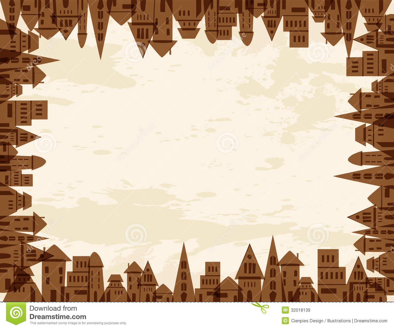 Tree city concept frame stock vector. Illustration of painting ...