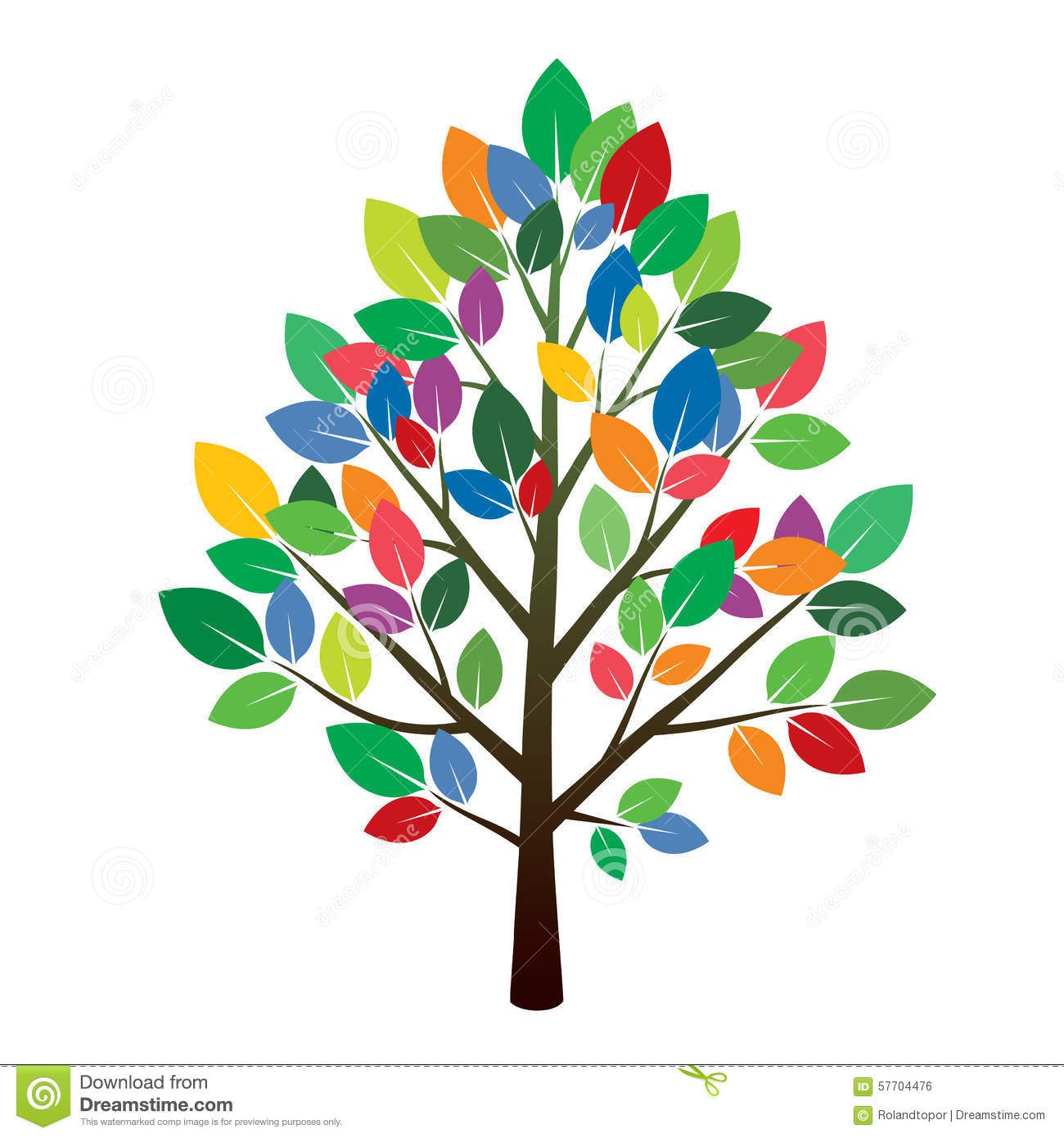 Tree and Color Leafs. stock illustration. Illustration of element ...