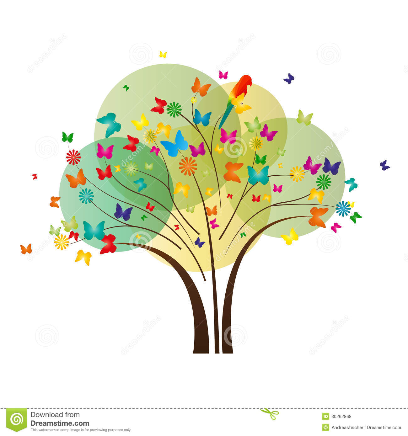 Butterfly Tree stock vector. Illustration of magical - 30262868