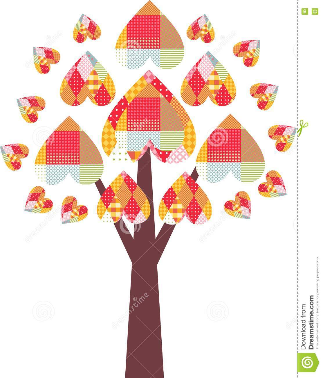 Colorful valentines day hearts on tree royalty free stock