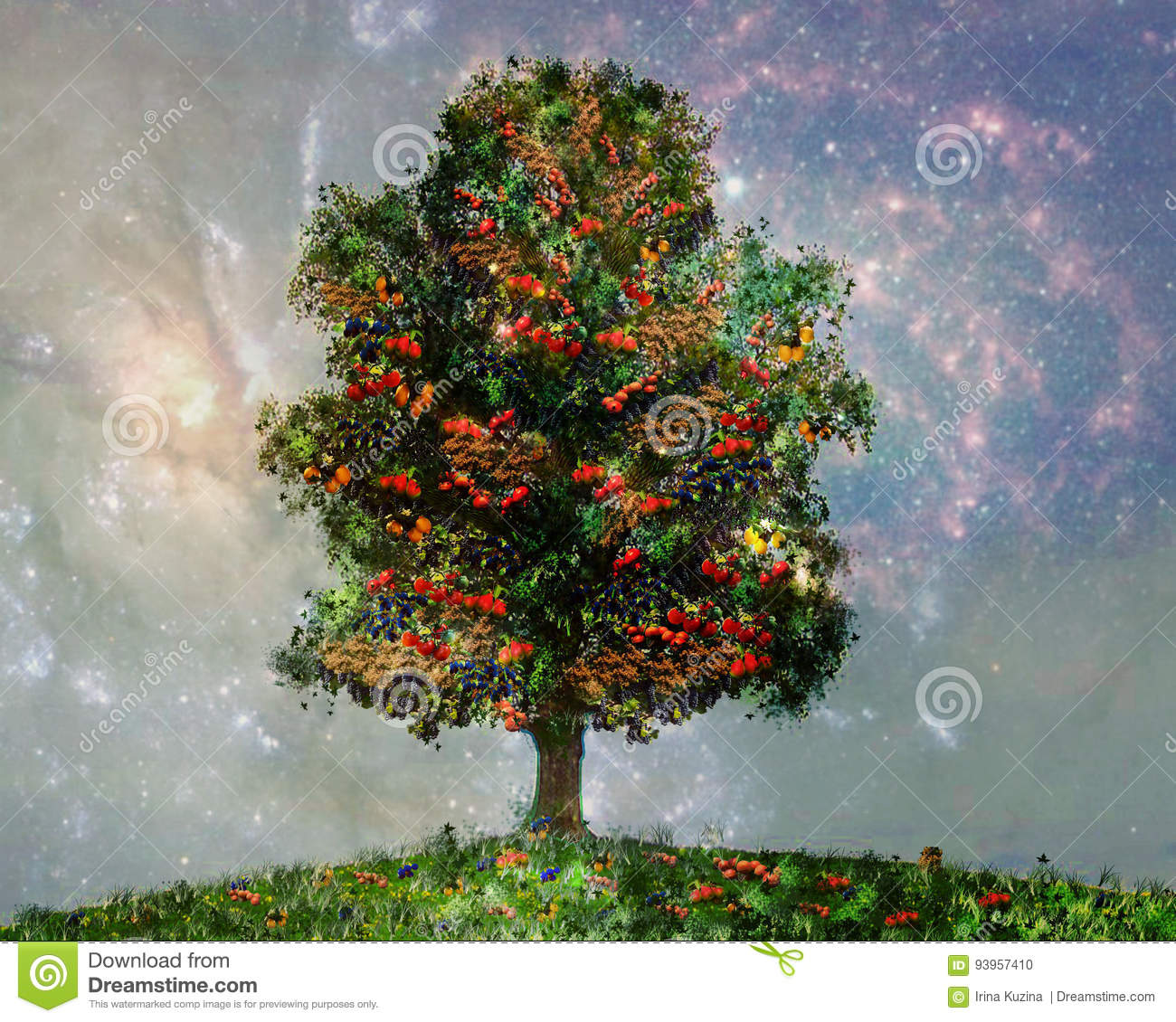 a Tree with different fruits, Bananas, oranges, apples , tomatoes, berries