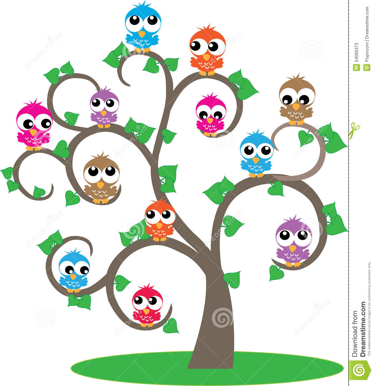 Silhouette Wall Stickers A Tree Full Of Colorful Owls Stock Illustration Image