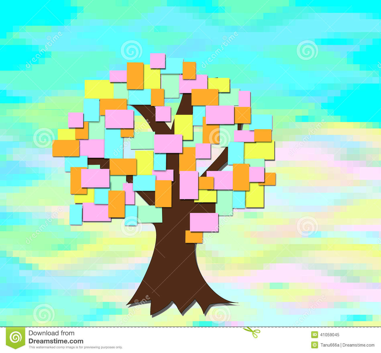 the tree grows with colored sheets of paper stock illustration