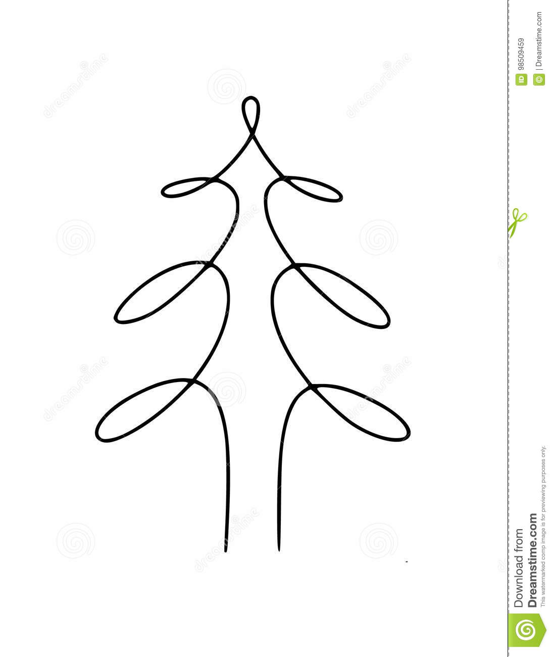 Tree Hand Drawn Line Stock Vector Illustration Of Draw 98509459