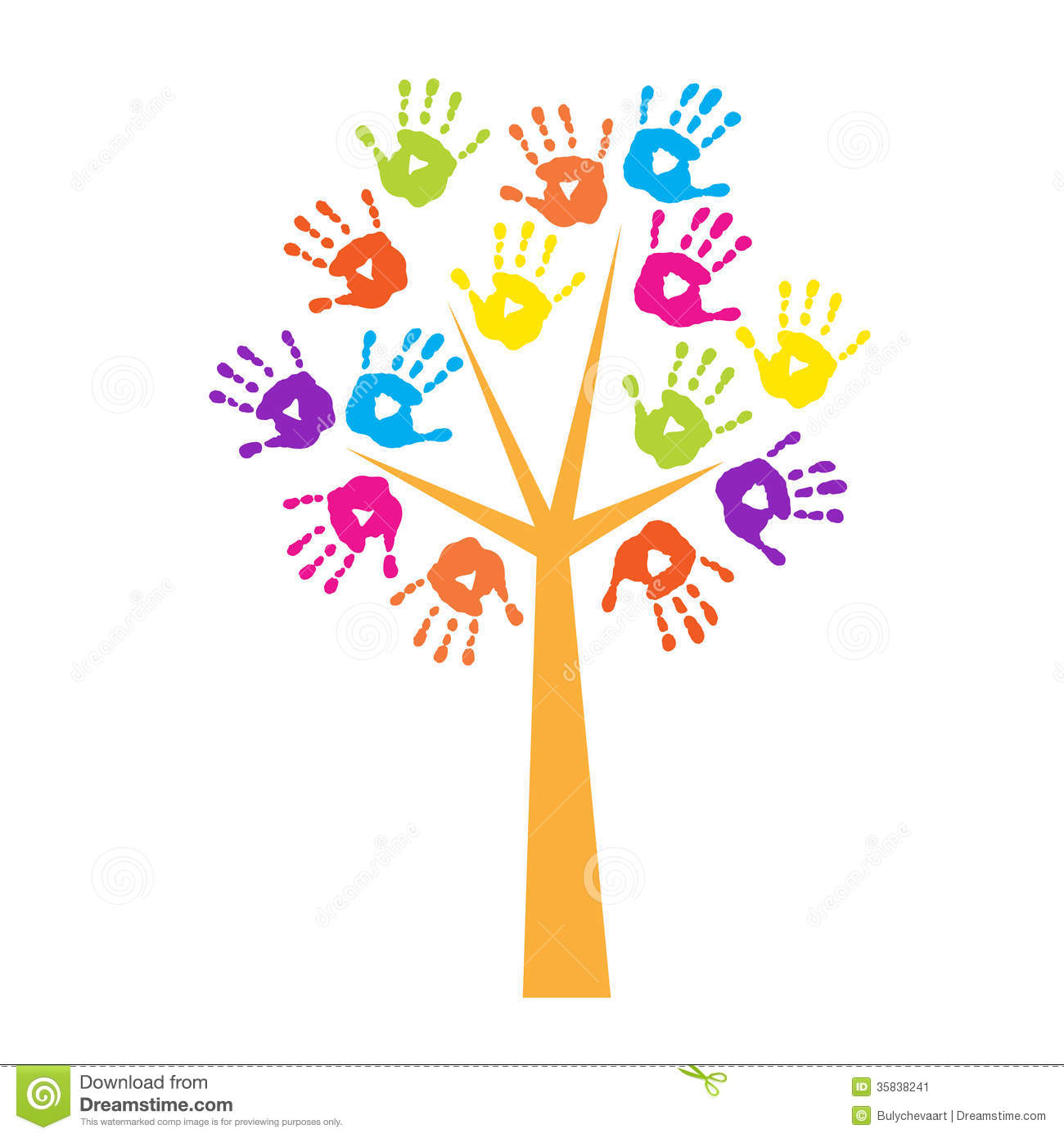 Tree With Handprints Instead Of Leaves Stock Image - Image: 35838241
