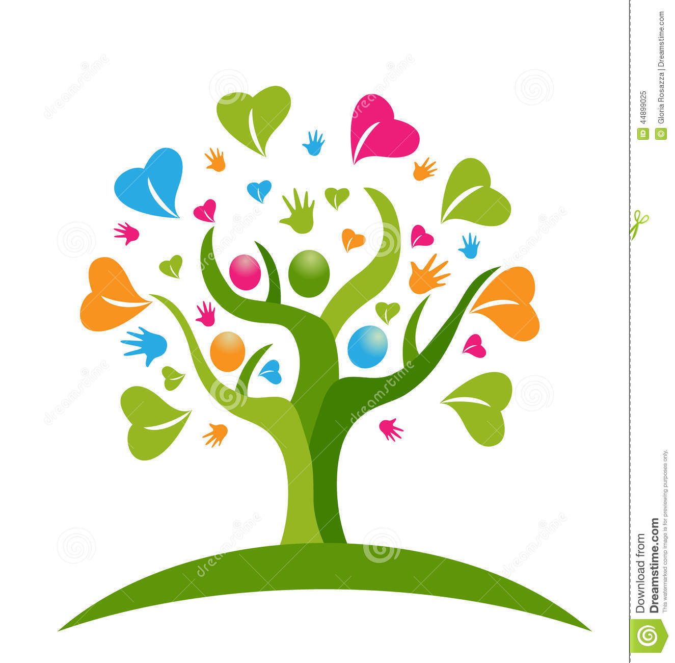 Tree Hands And Hearts Figures People Logo Stock Vector