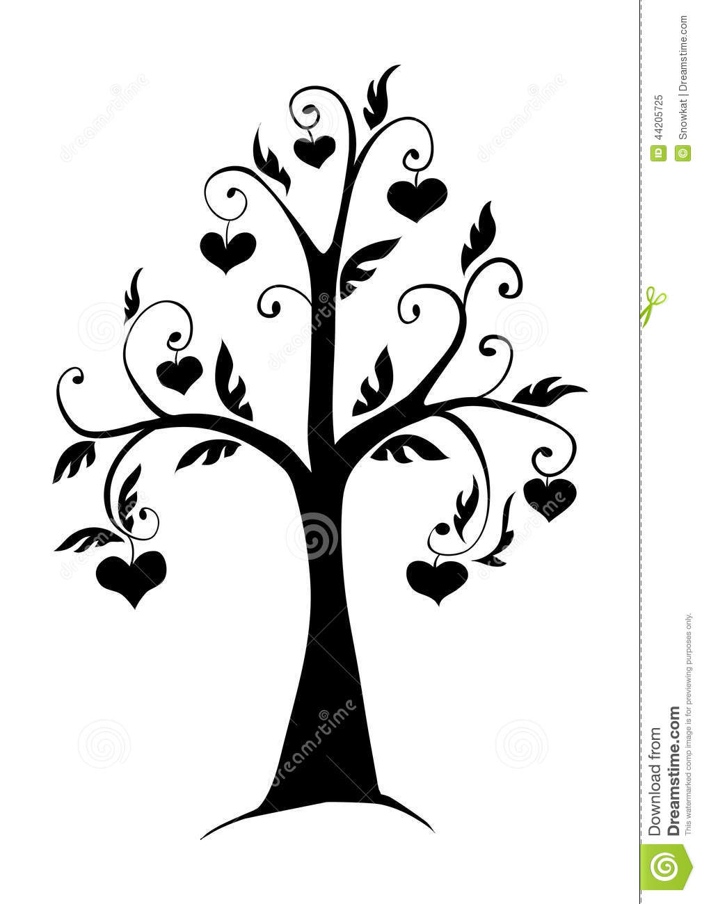 The Tree In The Hearts Stock Vector Image 44205725