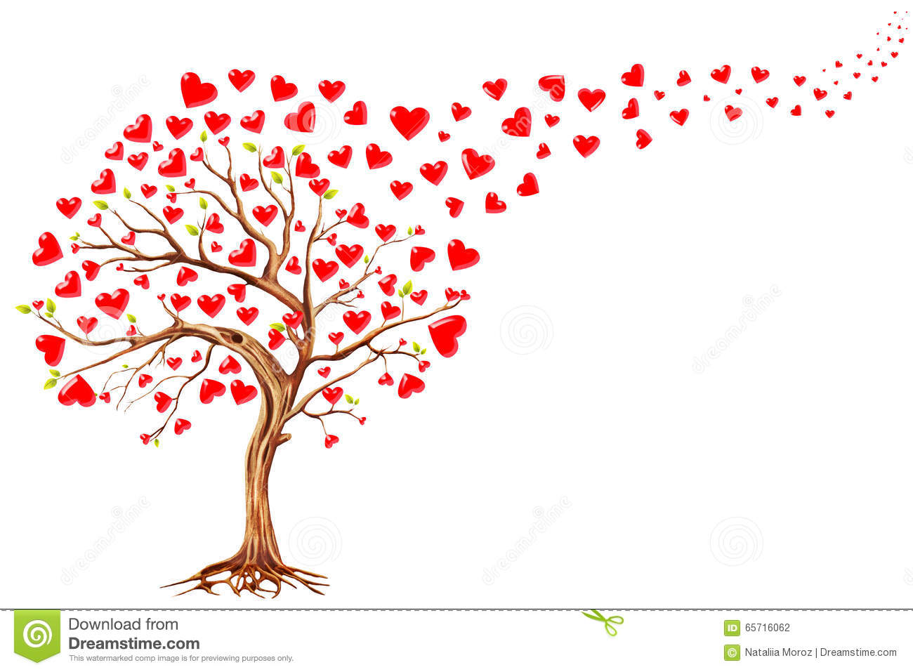 Tree Of Hearts Valentines Day Background Stock Illustration