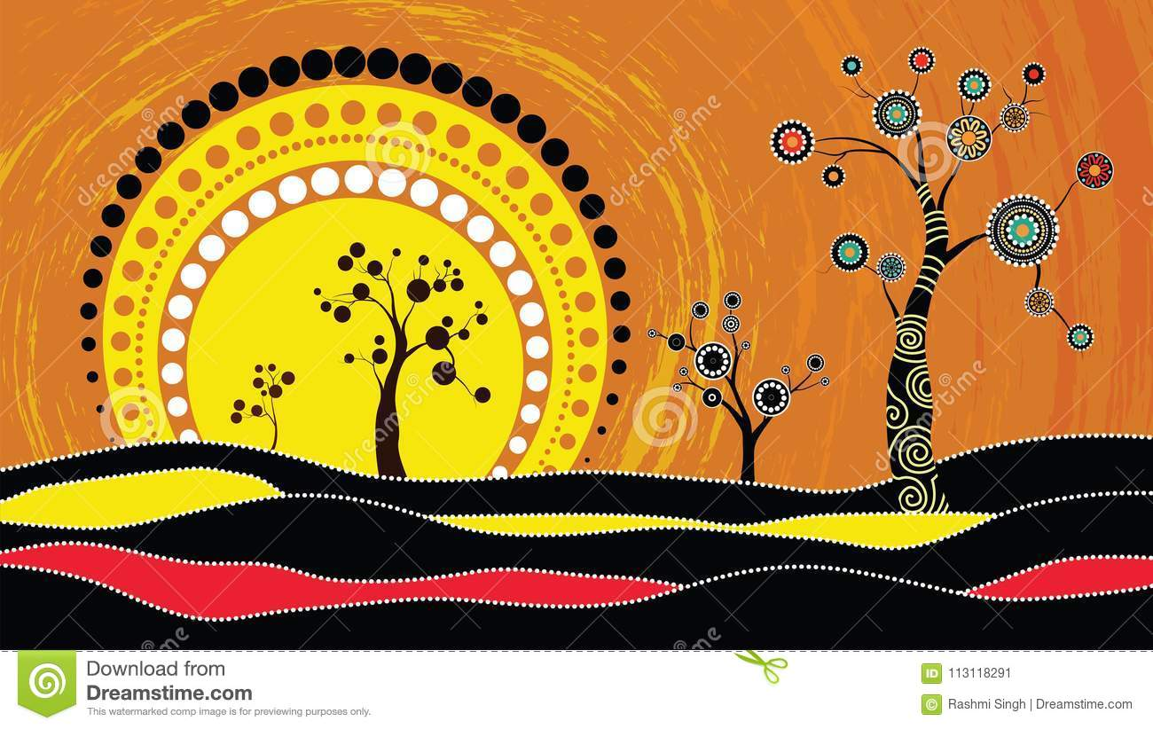 Tree On The Hill Aboriginal Tree Aboriginal Art Vector Painting