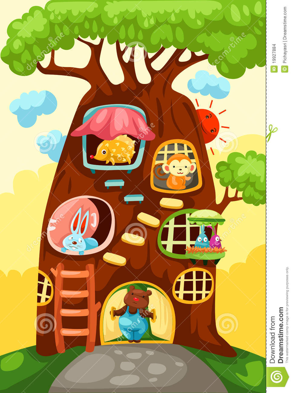 Tree House Of Animals Stock Images Image 19927884