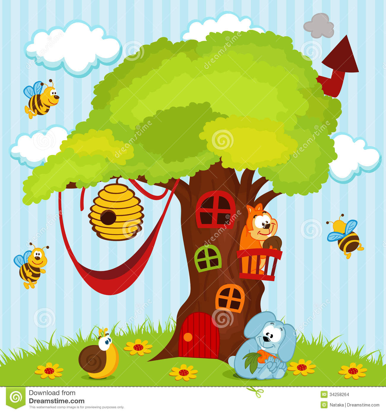 Tree house with animals stock vector. Illustration of ...