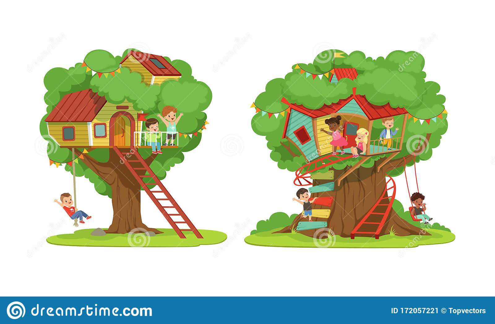 Tree House For Kids Collection Boys And Girls Playing And Having Fun In Treehouse Kids Playground With Swing And Stock Vector Illustration Of Green Happy 172057221 This way lazytown encourages kids to be more active and lead healthier lives. https www dreamstime com tree house kids collection boys girls playing having fun treehouse playground swing ladder vector illustration image172057221