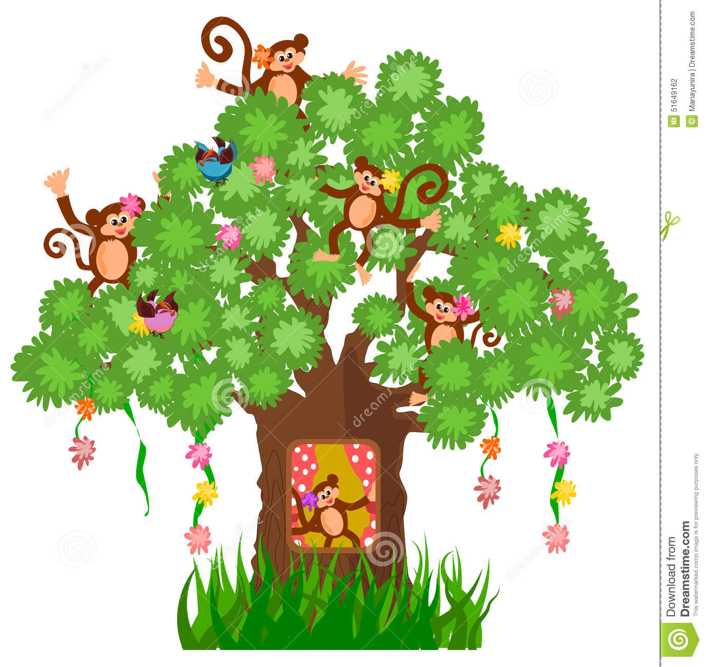 Printable Tree House Plans: Tree House And Monkey Stock Vector. Illustration Of