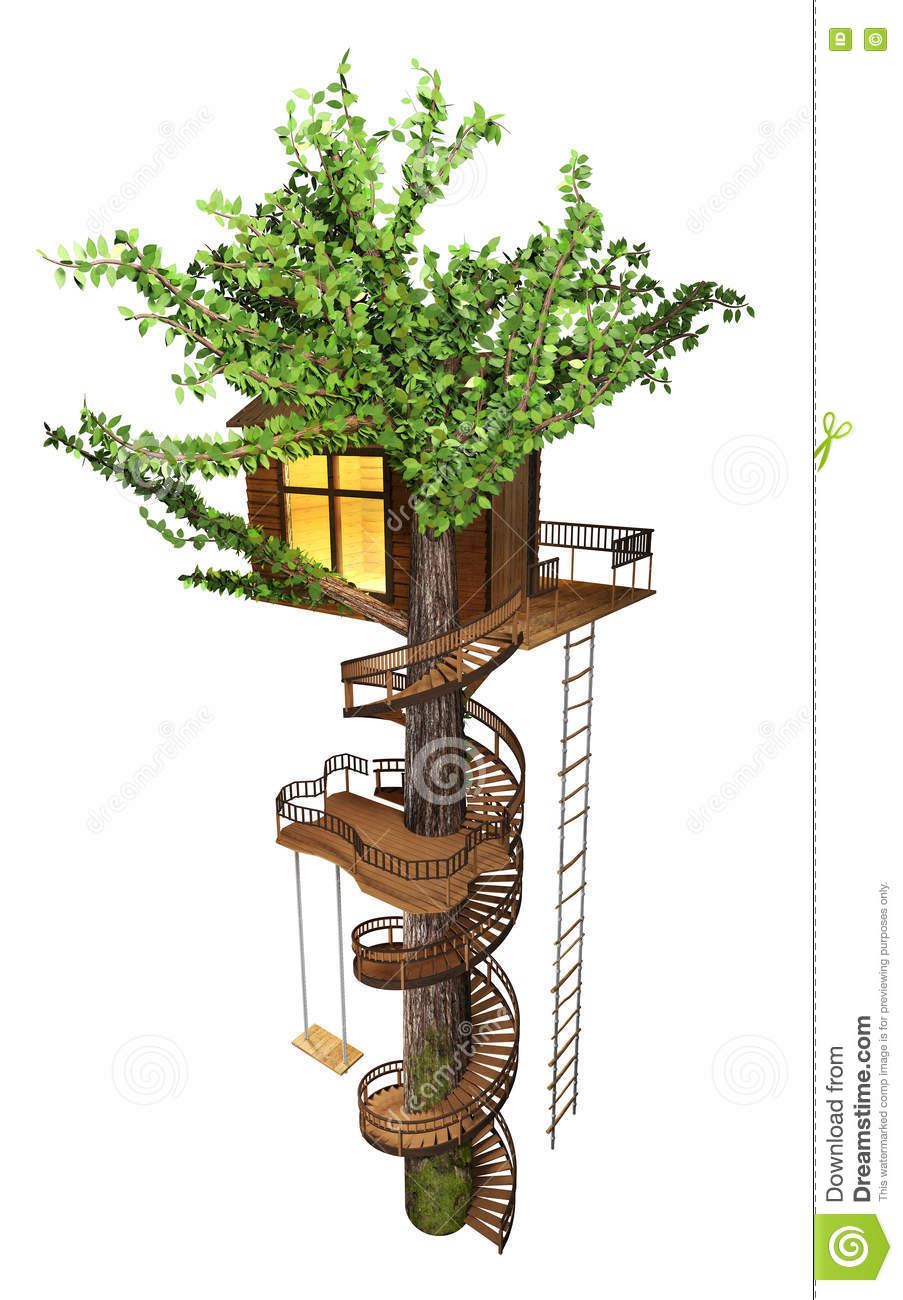 Tree House With A Spiral Staircase Swing Rope Ladder 3d