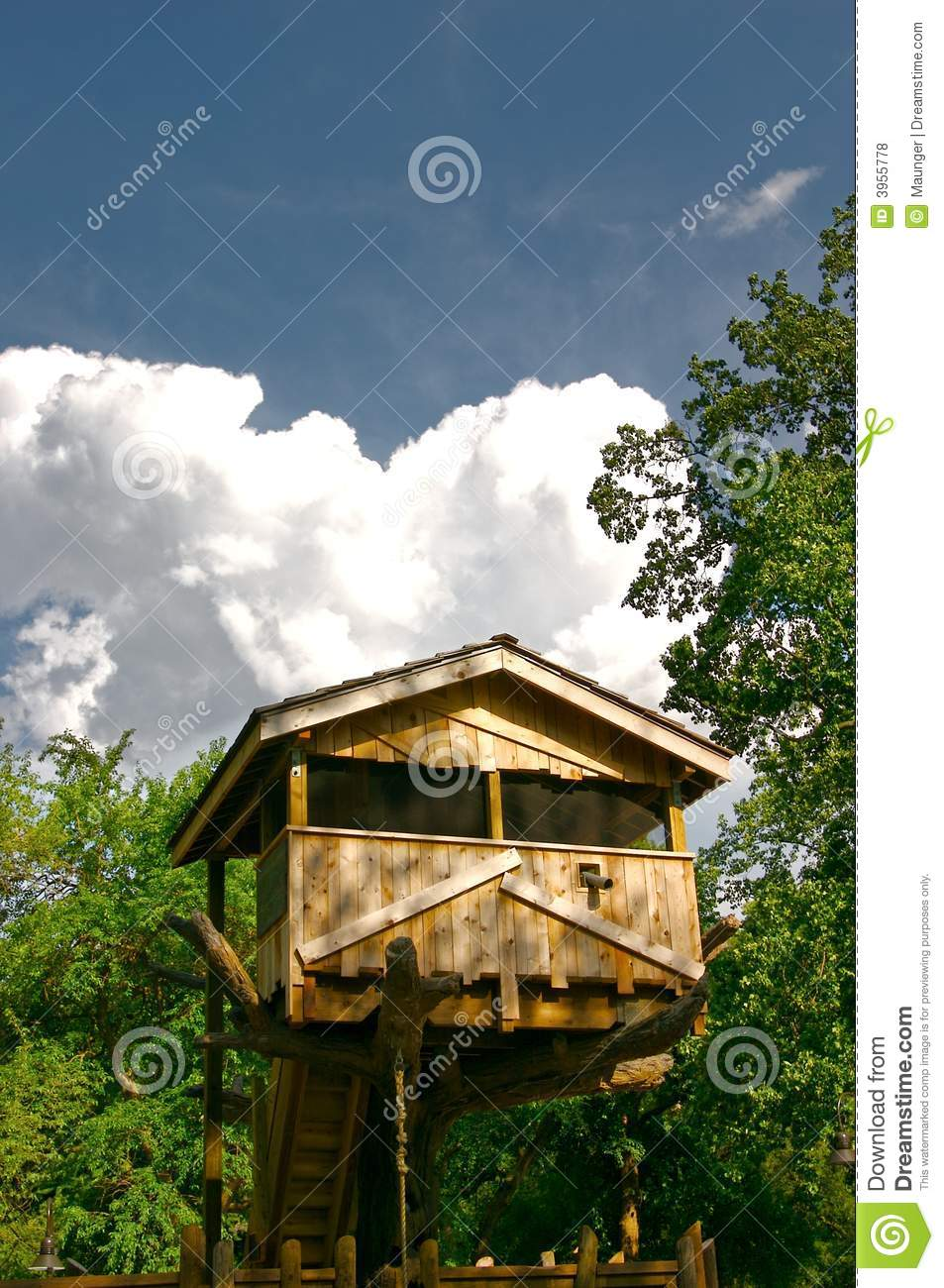 Tree House on a Summer Day