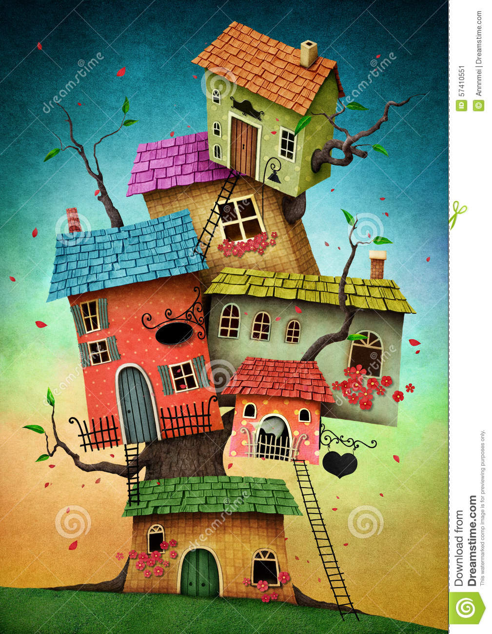 Book Cover Illustration Royalties : Tree houses stock illustration image