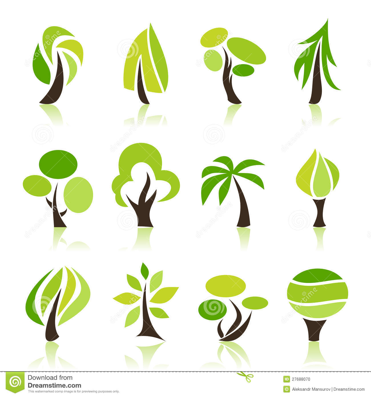 Set of icons of trees. A vector illustration.
