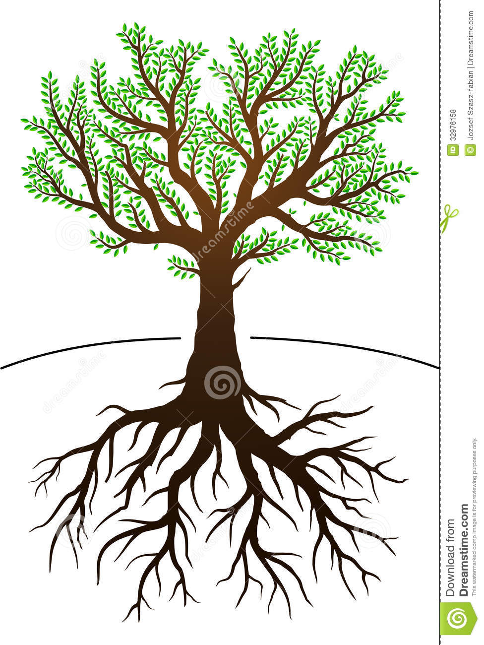 tree and its roots stock vector illustration of white 32976158. Black Bedroom Furniture Sets. Home Design Ideas