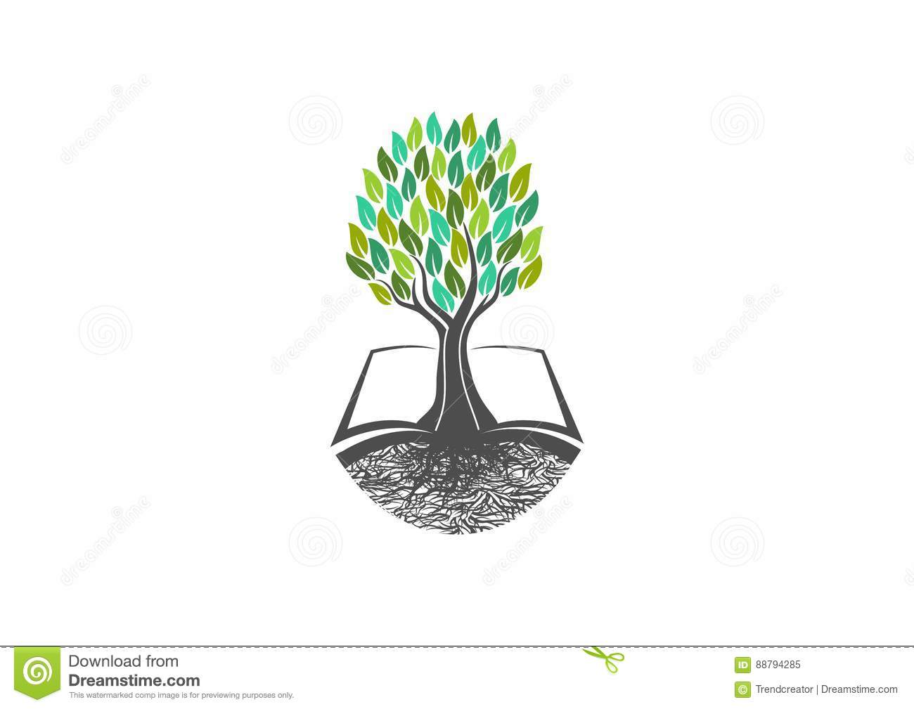 Education Tree Icon Books Cartoon Vector Cartoondealer