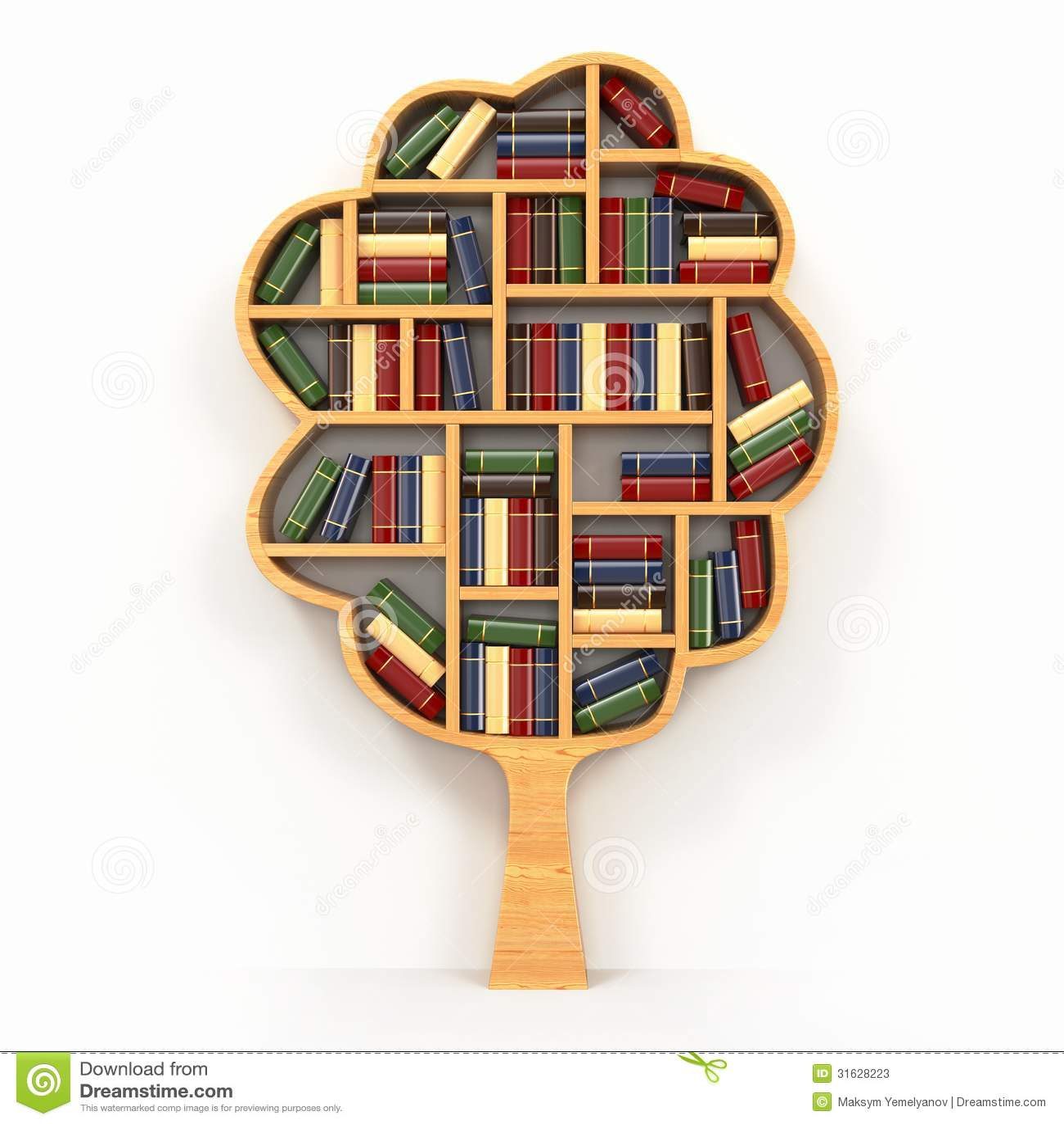 tree of knowledge bookshelf on white background stock photos  - background tree