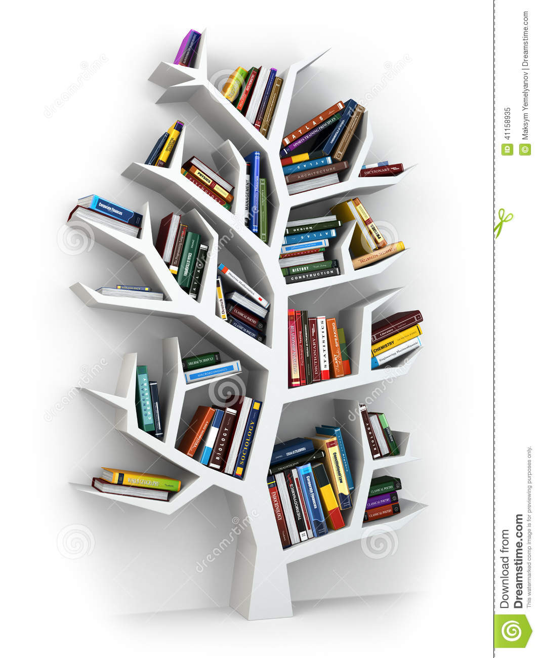 Tree Of Knowledge. Bookshelf On White Background. Stock Illustration ...