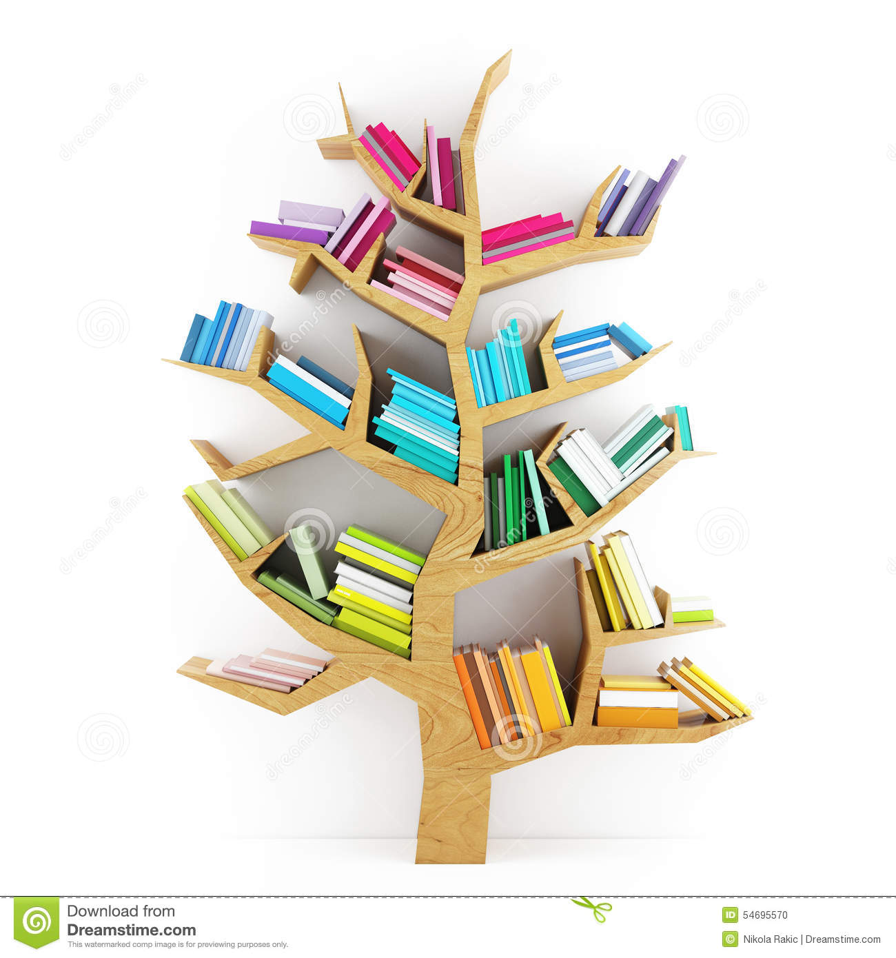 Tree Of Knowledge Wooden Shelf With Multicolor Books On White Background