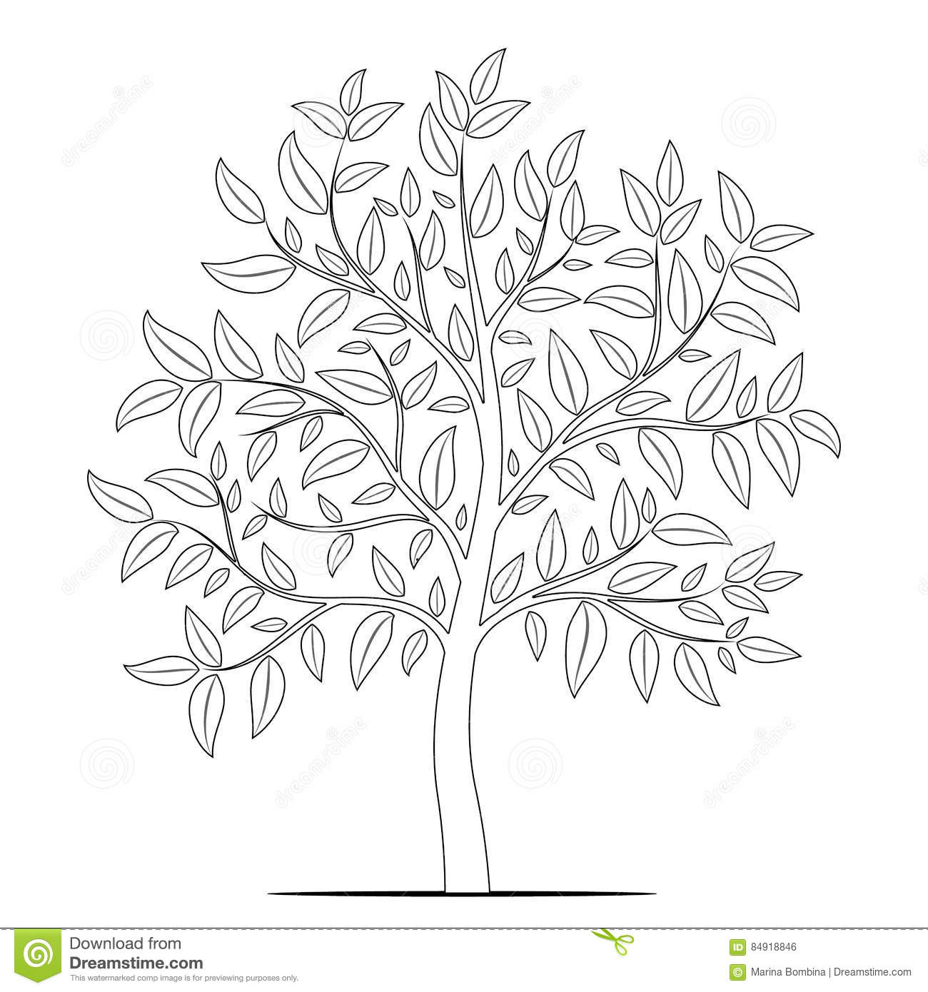 Tree With Leaves Outline On White Background Vector Stock