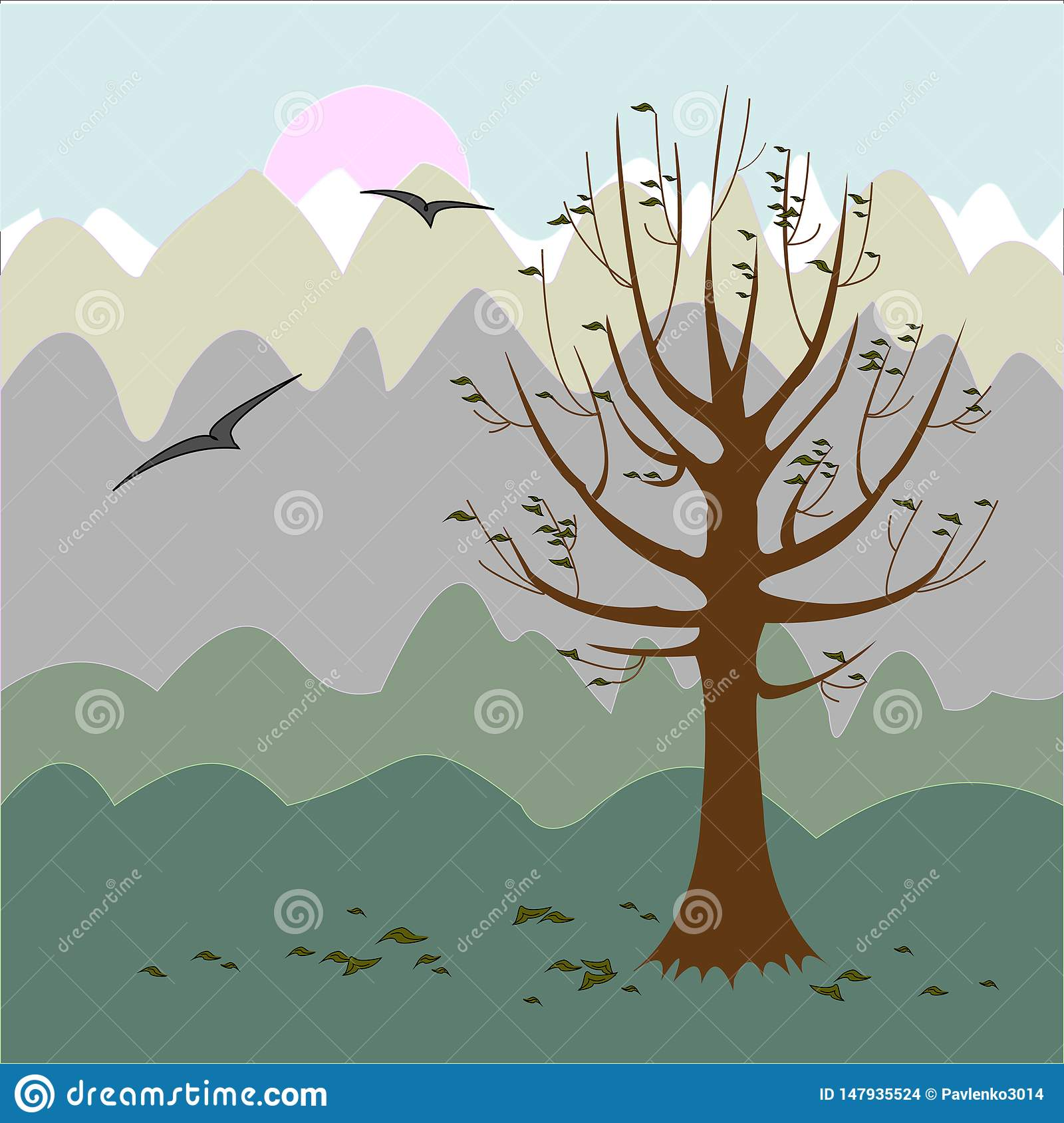A tree without leaves. Philosophical mood. Autumn background. Vector illustration