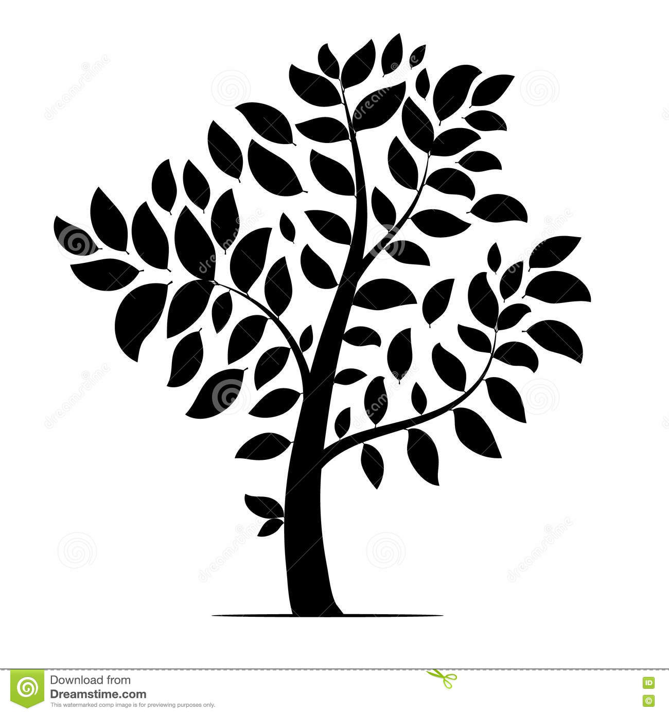 tree with leaves silhouette stock vector illustration of