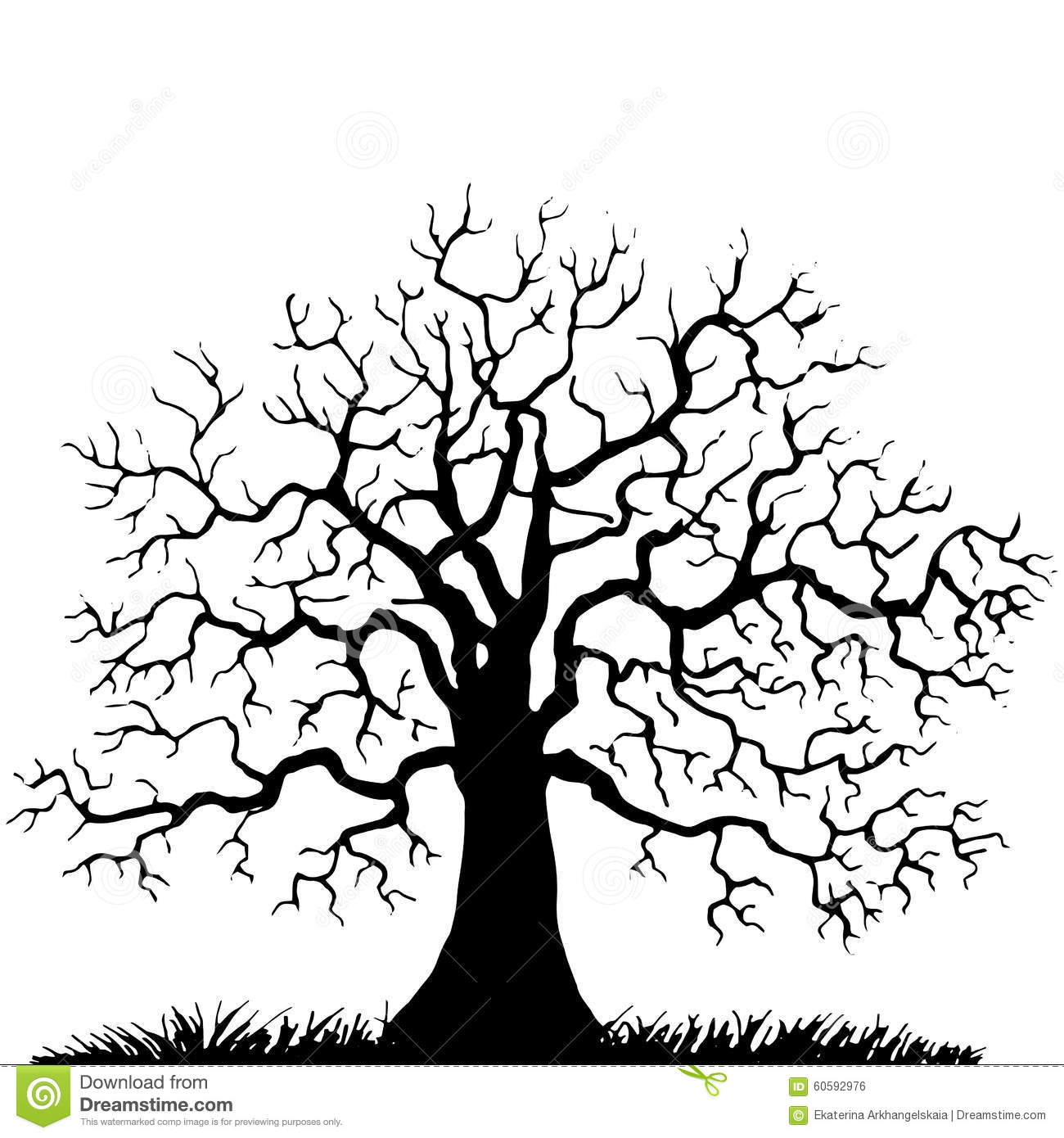 Tree Without Leaves Silhouette Stock Vector Illustration Of