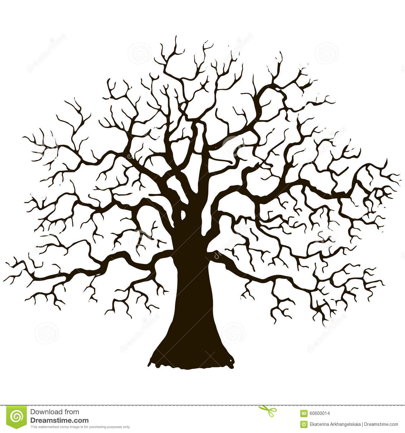 Silhouette of tree without leaves, winter tree, hand drawn vector ...