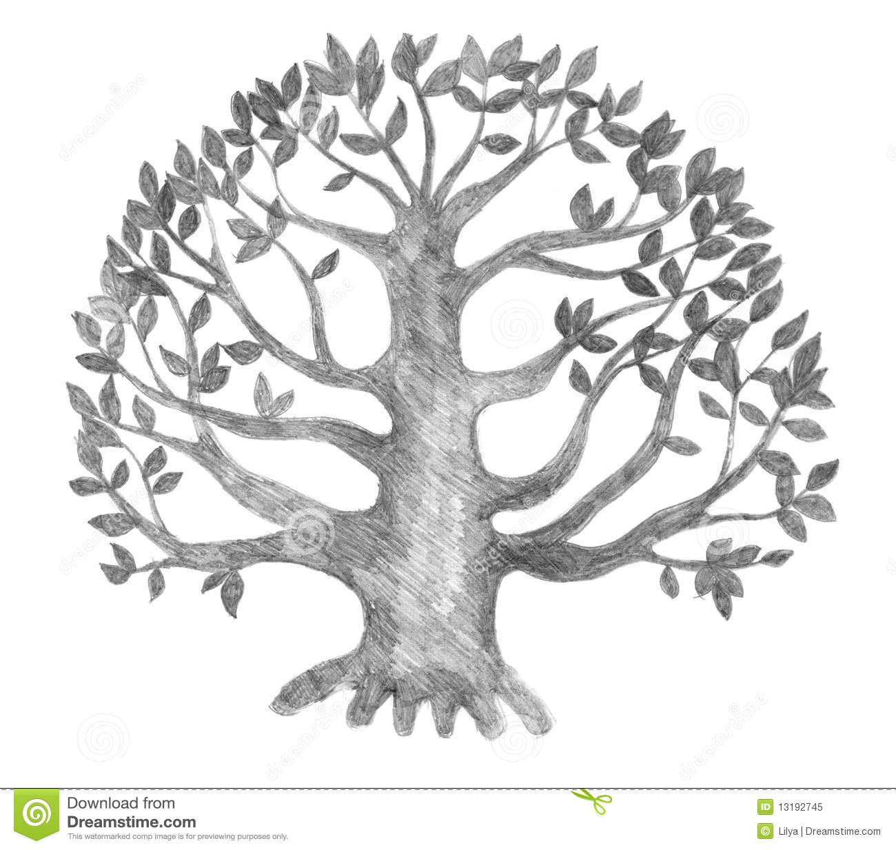 Tree of life silhouette pencil drawing illustration