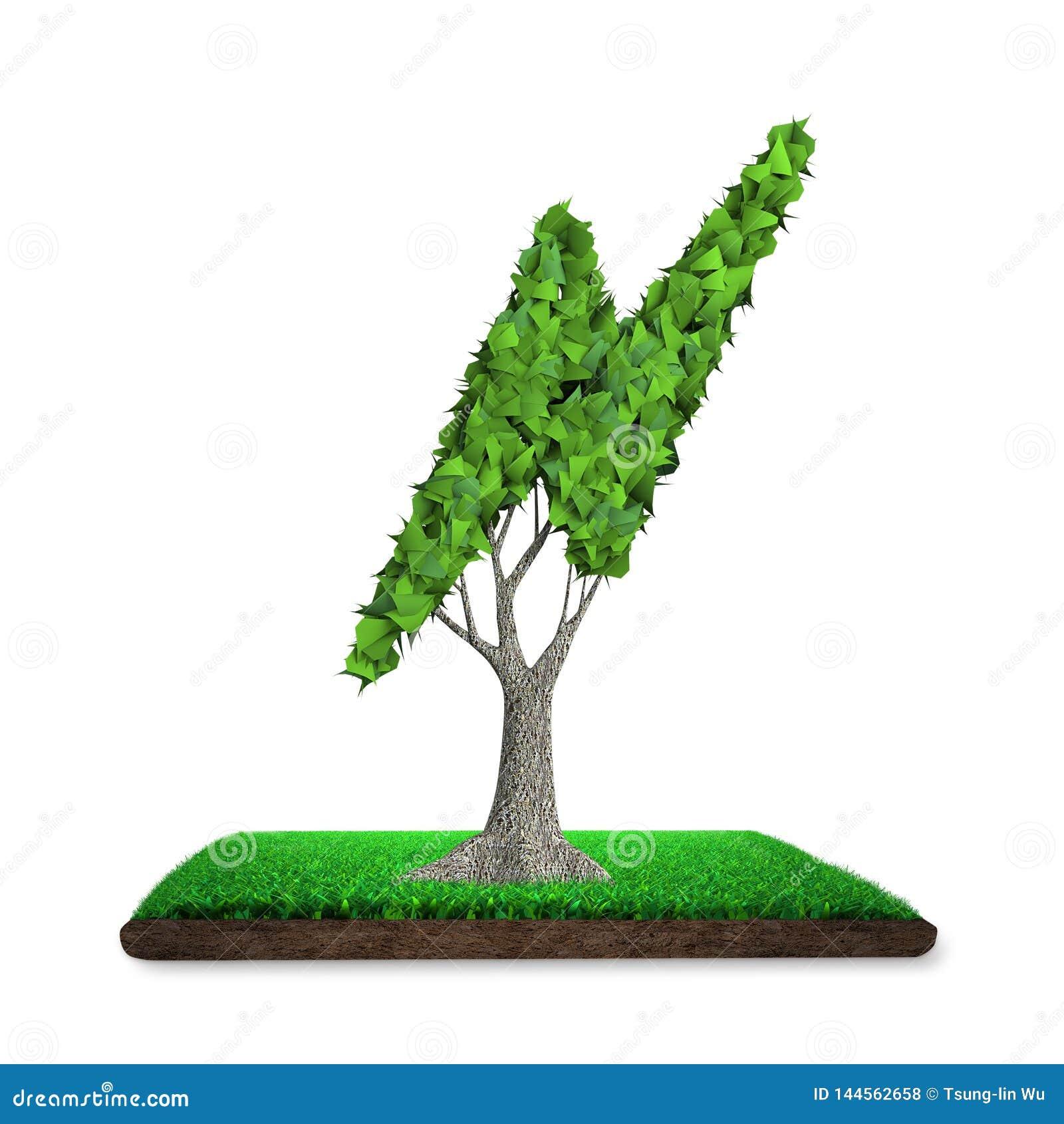 Tree With Lightning Bolt Shape Leaves, Grass Land, 3D