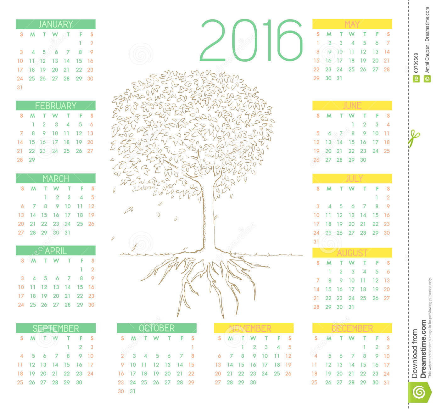 Line Art Year : Tree line art drawing with calendars stock vector