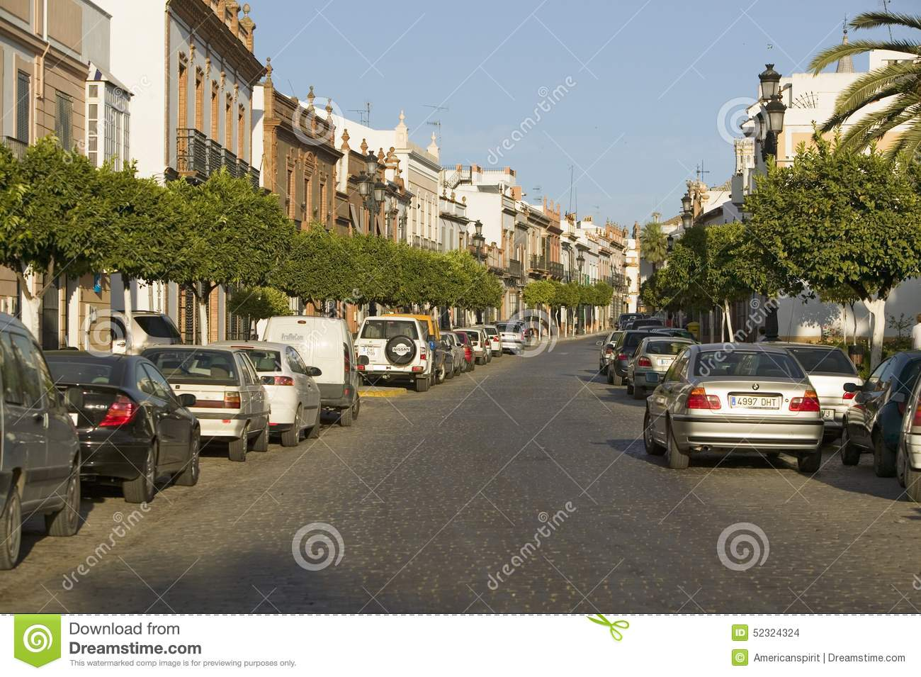 Tree Lined Narrow Street Of Village In Southern Spain Off Highway A49 West Of Sevilla Editorial Stock Image Image Of Street Architecture 52324324
