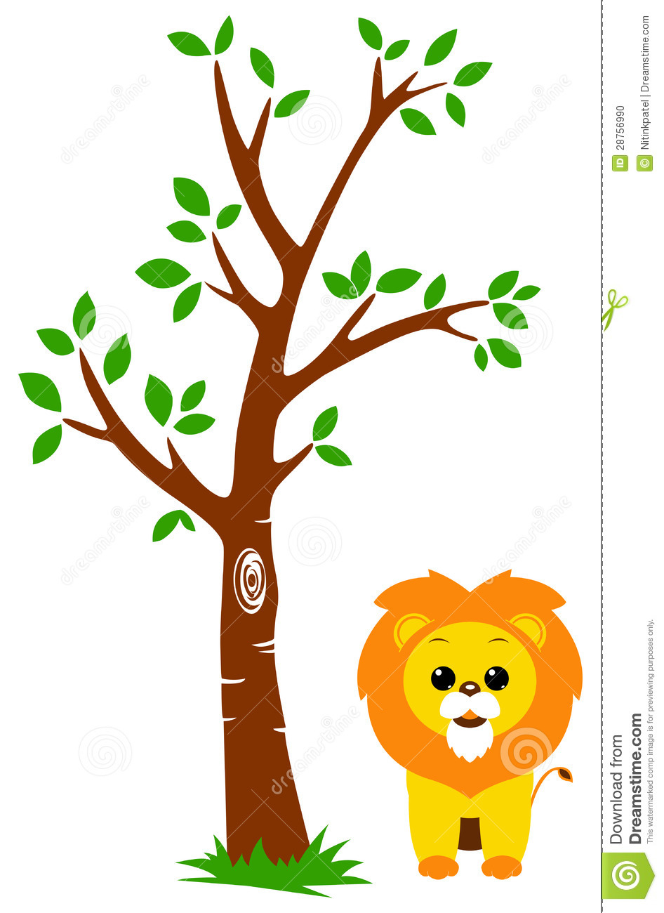 tree and lion stock photo image 28756990