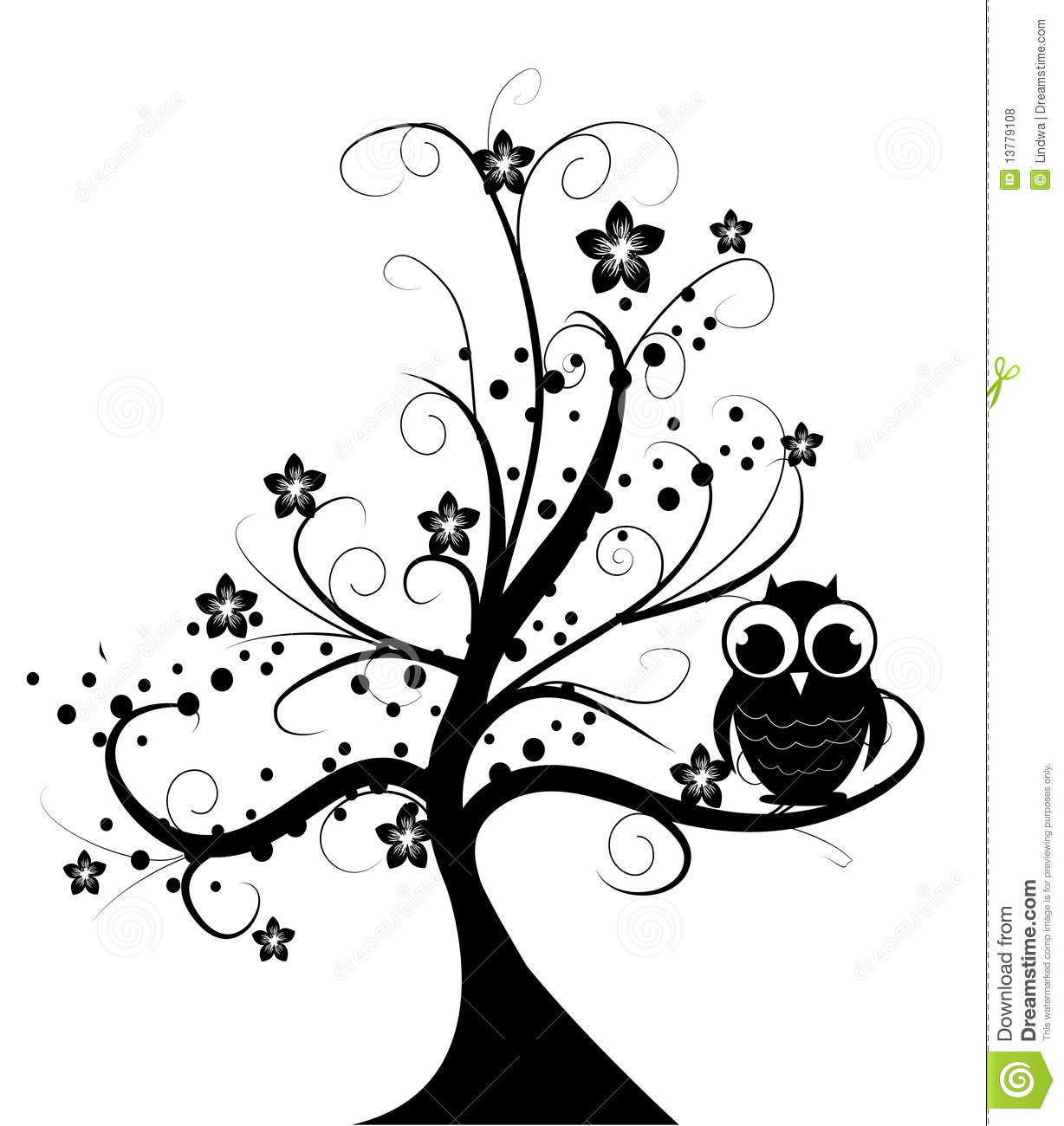 Swirl Wall Stickers Tree With Little Owl Royalty Free Stock Photos Image
