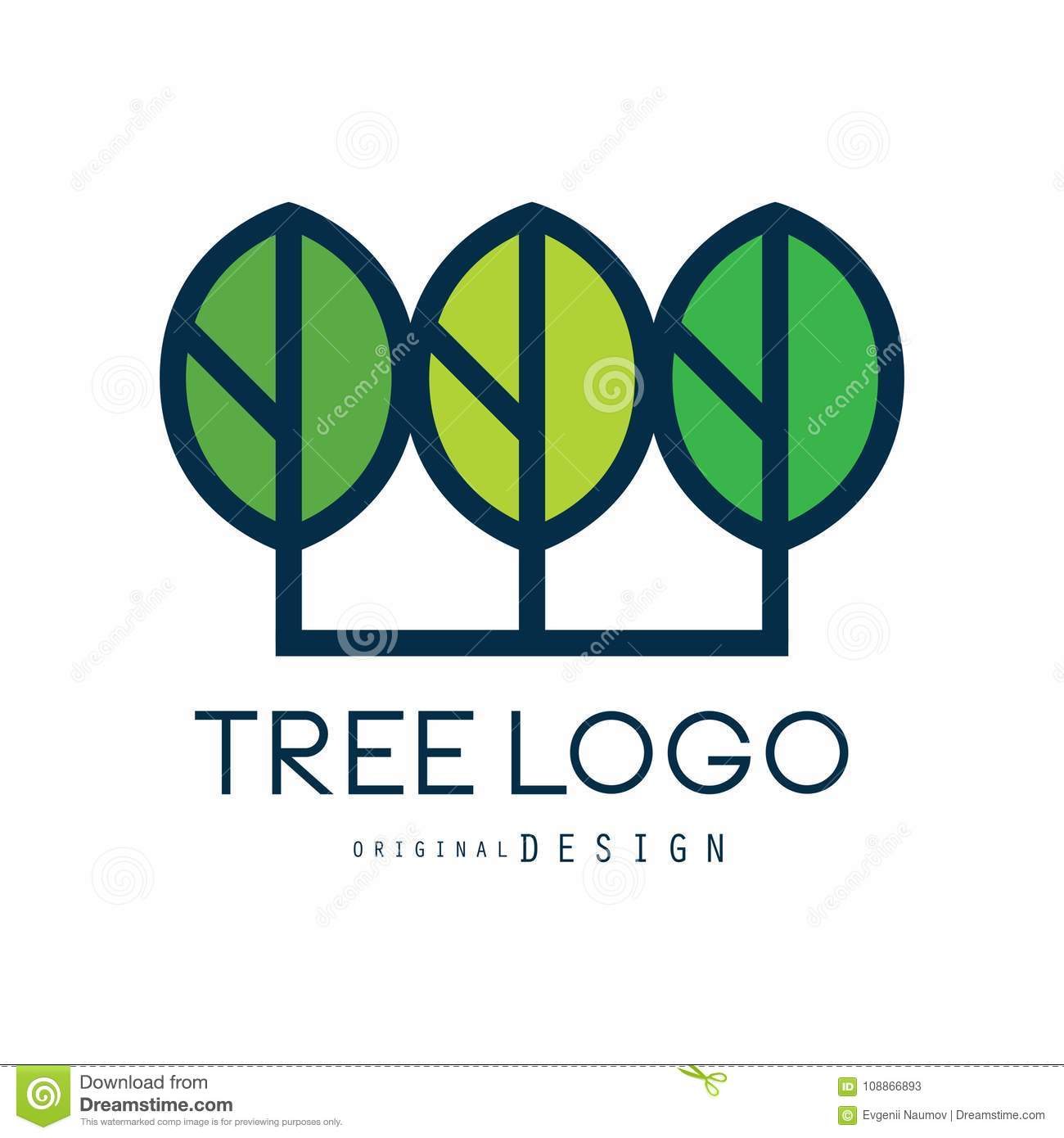Tree logo original design, green eco badge, abstract organic element vector illustration
