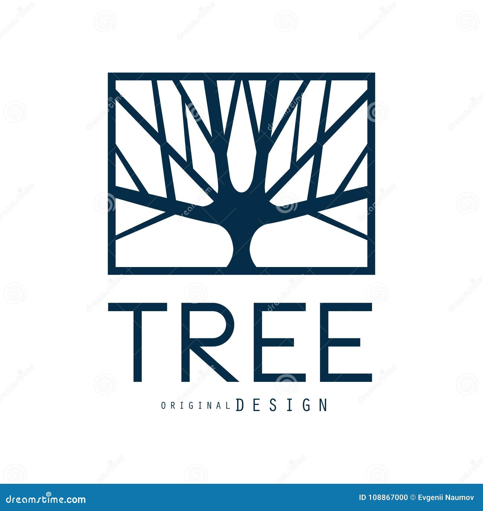 Tree logo template original design, blue eco badge, abstract organic element vector illustration