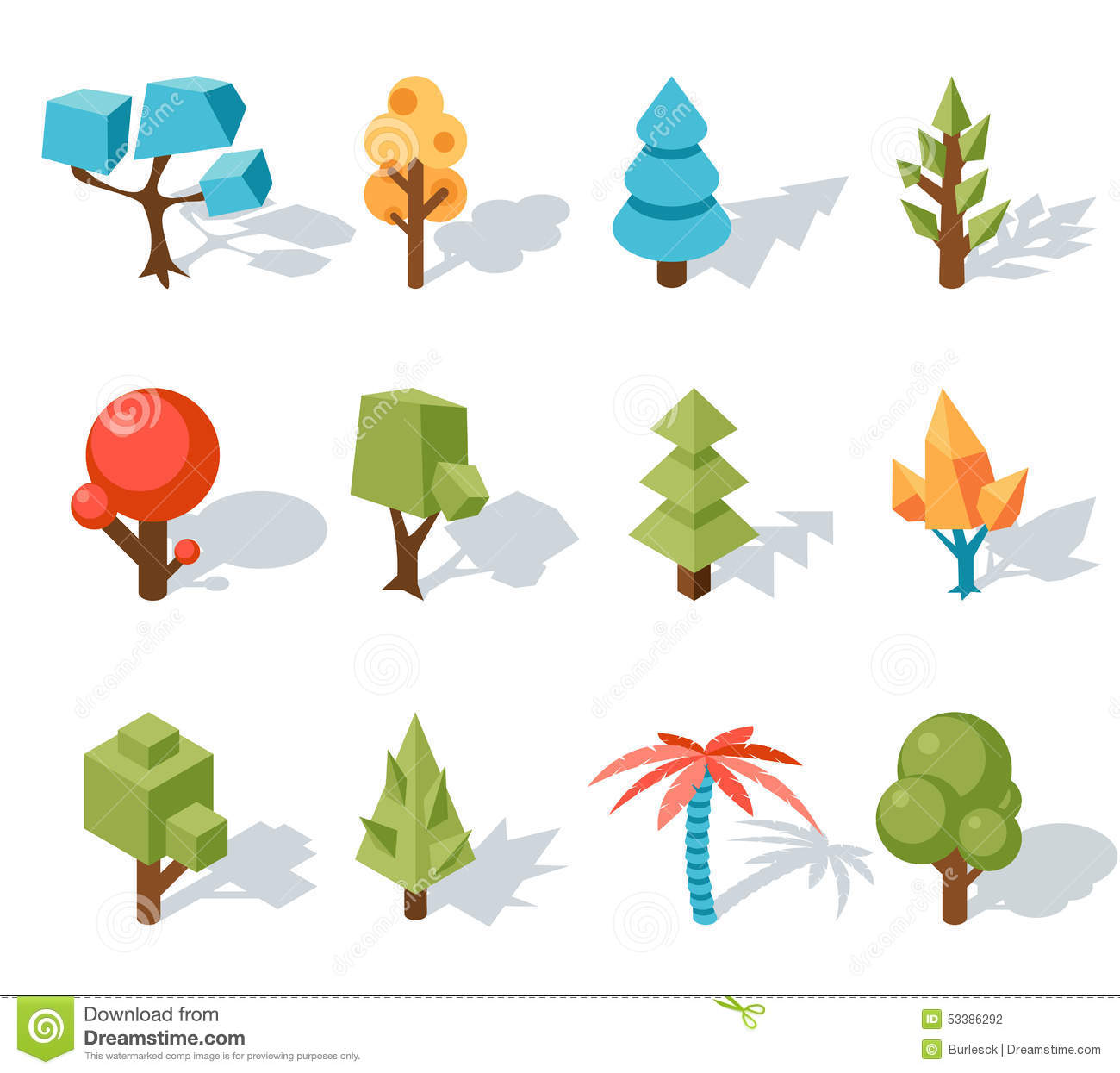 Low poly tree icons, Vector isometric 3D. Forest and leaf, palm and ...