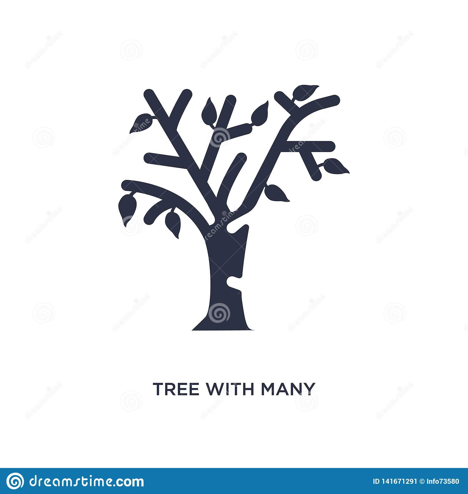 tree with many leaves icon on white background. Simple element illustration from ecology concept