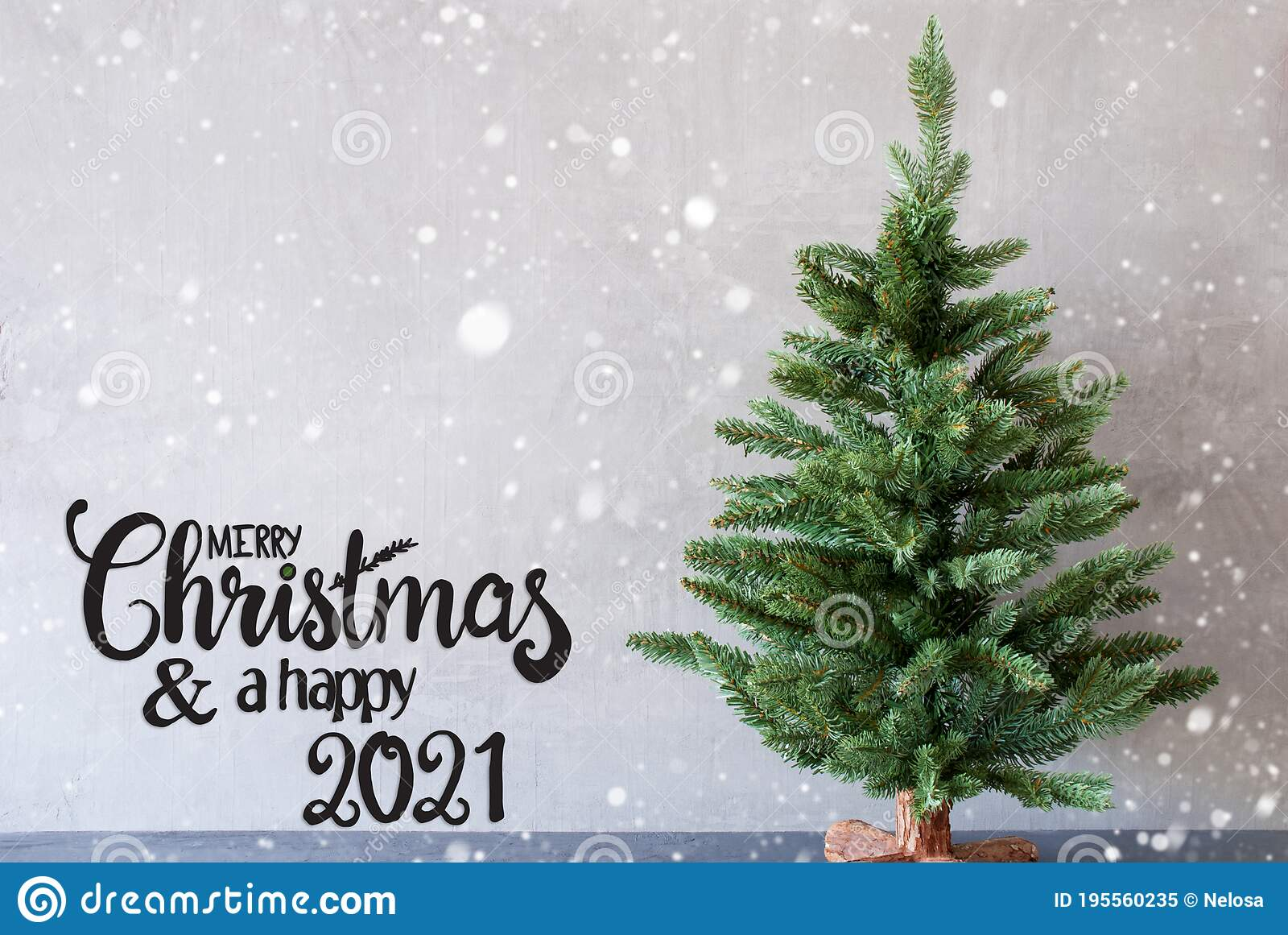 Merry Christmas 2021 Pictures Gray Tree Merry Christmas And A Happy 2021 Cement Background Snowflakes Stock Image Image Of Gray Holiday 195560235