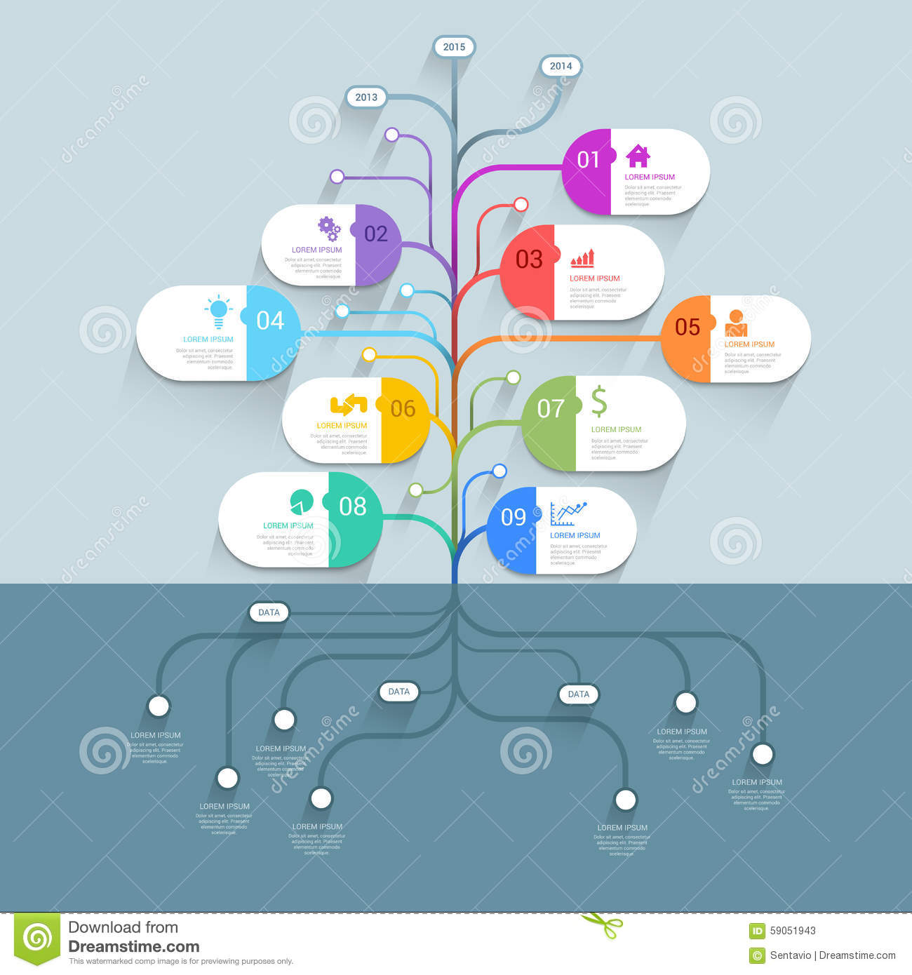 Tree Mindmap Timeline Process Infographics Template ...