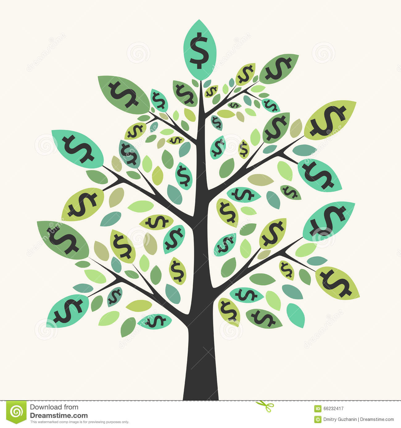 Finance Tree: Tree Of Money, Wealth And Success Stock Vector