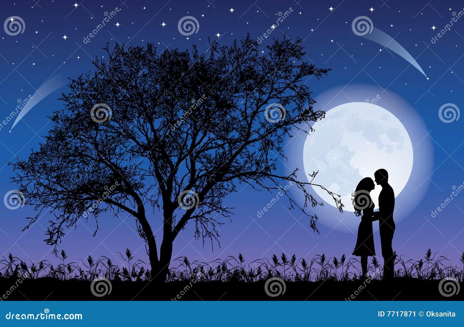 Tree and moon.