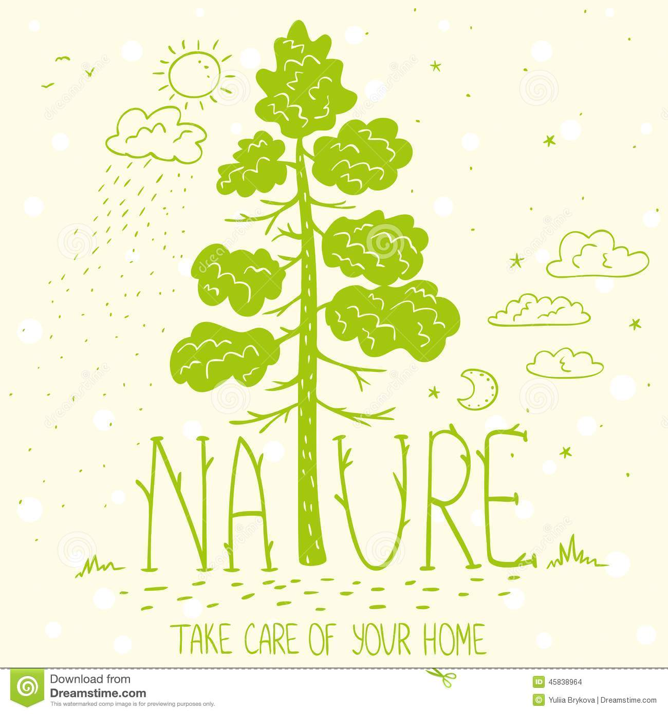 Nature Ecology: Tree Nature Ecology Stock Vector
