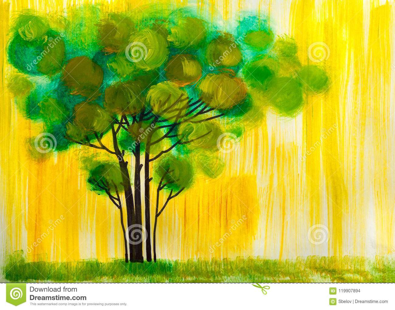 Tree, Oil Painting, Artistic Background. Stock Illustration ...