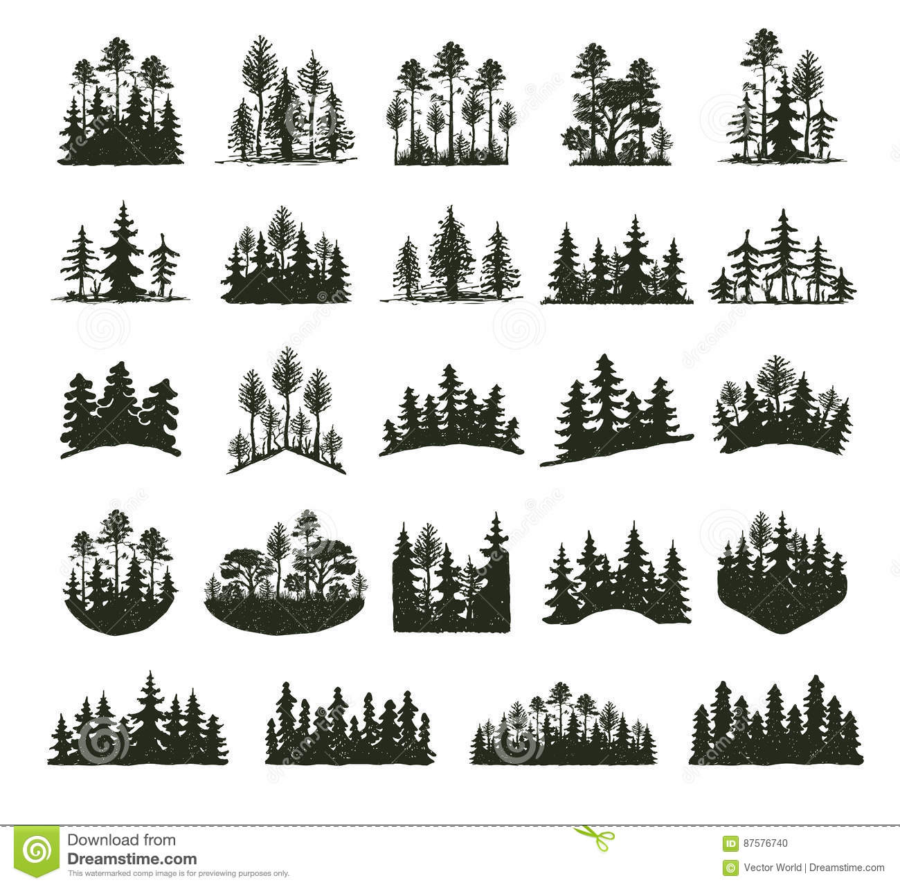 Download Tree Outdoor Travel Black Silhouette Coniferous Natural Badges, Tops Pine Spruce Branch Cedar And Plant Leaf Abstract Stock Vector - Illustration of evergreen, banners: 87576740