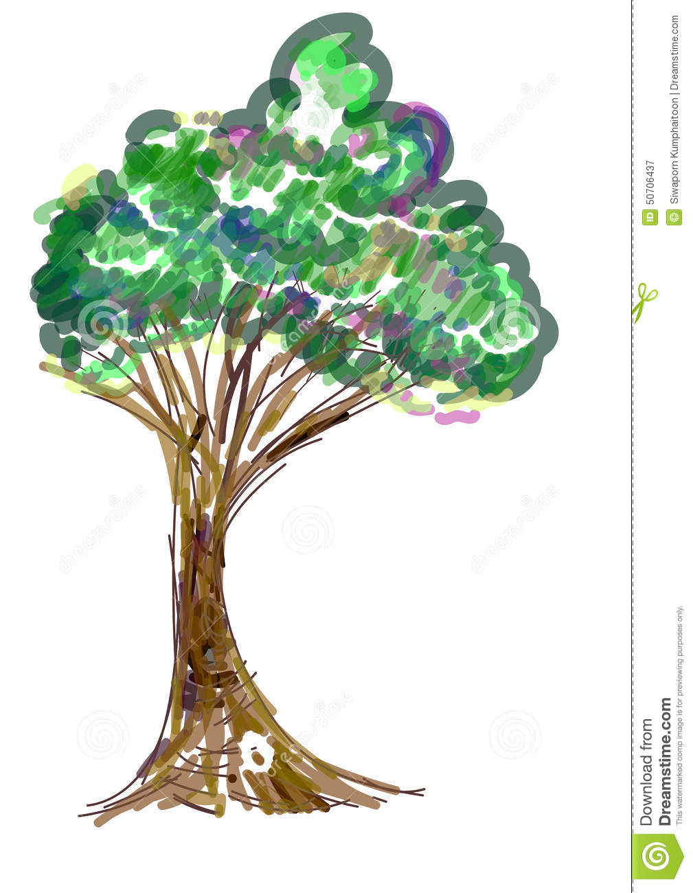 Tree painting icon stock vector. Illustration of illustration - 50706437 for Tree Drawing With Color  585hul