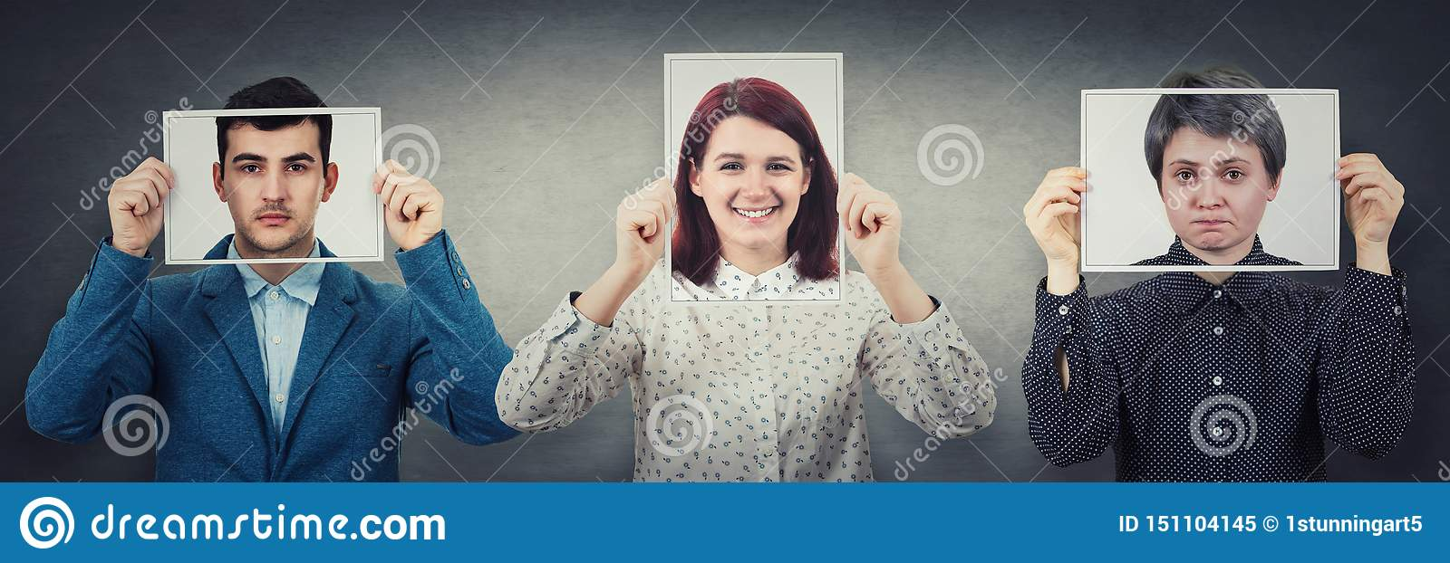 Tree people covering their faces using photo sheets with happy, sad and neutral emotions, like mask to hide real expression from